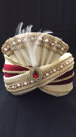 Trendy Cream Georgette Red Velvet Wedding Turban DTT1335