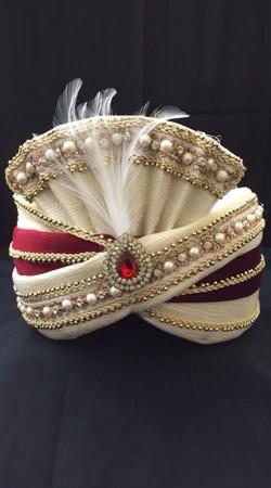 Trendy Cream Georgette Red Velvet Wedding Turban DTT1335