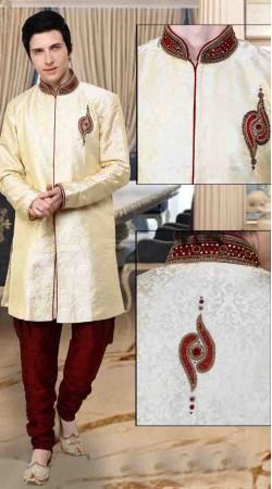 Trendy Cream Kela Silk And Art Dupion Silk Polo Indowestern Sherwani DT12438
