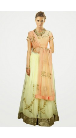 Trendy Cream Net And Shantoon Wedding Lehenga Choli SUUDL7114