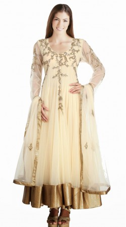 Trendy Cream Net Golden Border Readymade Party Wear Salwar Kameez SU15210