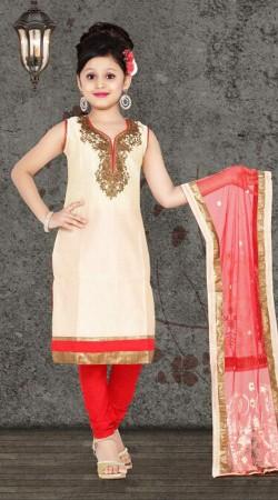 Trendy Cream Premium Fabric Readymade Kids Churidar Kameez DT700737