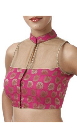 Trendy Dark Pink Premium Fabric Designer High Netted Blouse For Saree BP0609