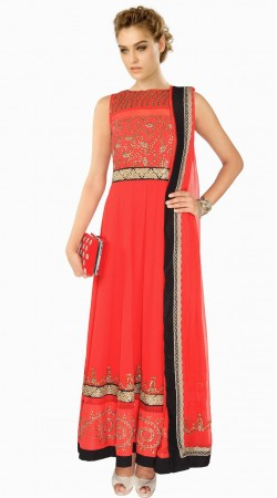 Trendy Embroidered Crimson Georgette Party Wear Salwar Kameez SUMA409