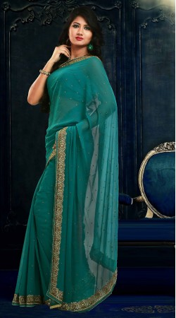 Trendy Embroidered Firozi Faux Georgette Exclusive Saree ZP1704