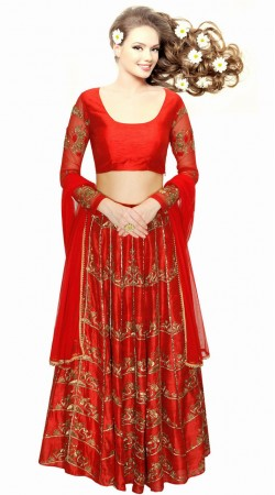Trendy Embroidered Red Silk And Net Wedding Lehenga Choli SUUDL1013