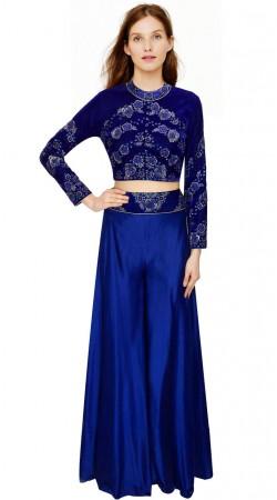 Trendy Floral Embroidered Blue Silk Indo Western Salwar Kameez SUMA3309