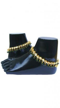 Trendy Green Moti And Gold Plated Zircon Base Designer Anklet N71998