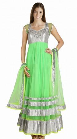 Trendy Light Green Net Readymade Party Wear Salwar Kameez SU16810