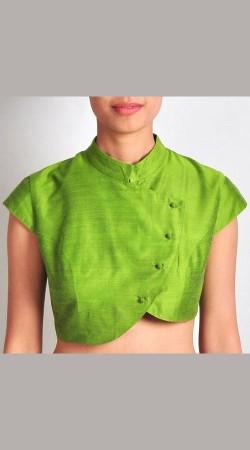 Trendy Light Green Premium Fabric Designer Blouse For Saree BP3009