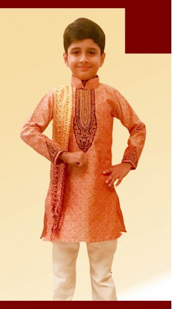 Trendy Light Orange Brocade Boy Kid Kurta Pajama With Neck Work DT11457