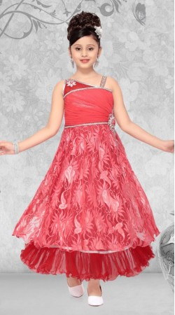 Trendy Light Red Net Designer Readymade Princess Kids Gown DT51742