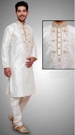 Trendy Machine Hand Embroidery Work White Art Dupian Silk Kurta Payjama DTKP1251