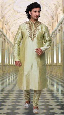 Trendy Neck Embroidered Mustard Green Art Silk Kurta Pyjama DTKP433