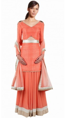 Trendy Peach Silk And Net Party Wear Lehenga Choli SUUDL8814