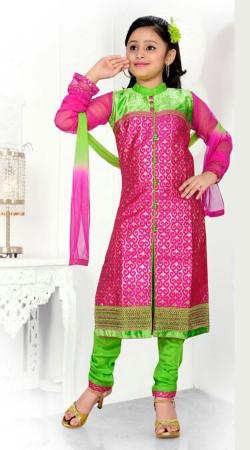 Trendy Pink Banarasi Readymade Kids Churidar Kameez DT701537