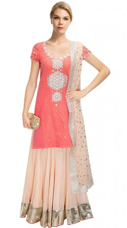 Trendy Pink Georgette Designer Long Choli Lehenga SUUDL11015