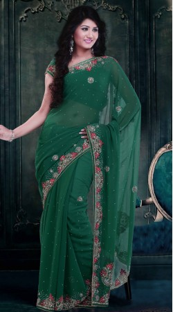 Trendy Rama Green Faux Georgette Exclusive Saree With Blouse ZP0304
