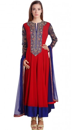 Trendy Red Georgette Readymade Ready Made Salwar Kameez SU18610