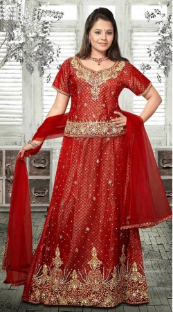 Trendy Red Net Embroidered Lehenga Choli With Dupatta DT91539