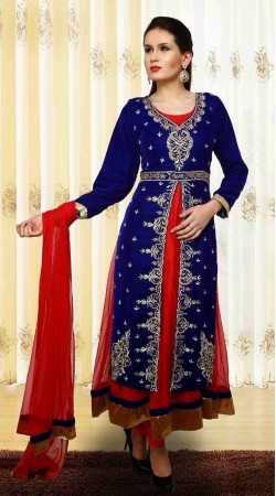 Trendy Red Net Velvet Jacket Style Readymade Salwar Kameez With Dupatta SUVC506
