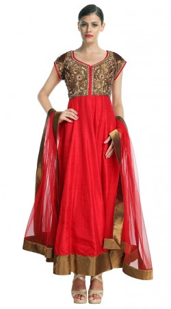 Trendy Red Silk Ankle Length Anarkali Suit With Dupatta SUUDS28704