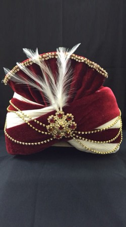 Trendy Red Velvet Cream Georgette Wedding Turban For Groom DTT2035