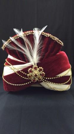 Trendy Red Velvet Cream Georgette Wedding Turban For Groom DTT2035