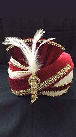 Trendy Red Velvet Stone Work Cream Georgette Wedding Turban For Groom DTT1935