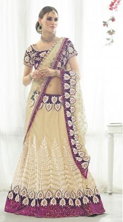 Trendy Resham Work Cream Net Designer Lehenga Choli MS681125