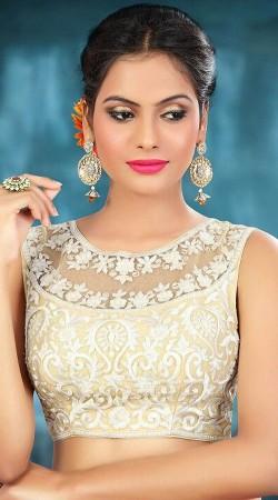 Trendy Resham Work Cream Premium Fabric Designer Blouse For Saree BP2609