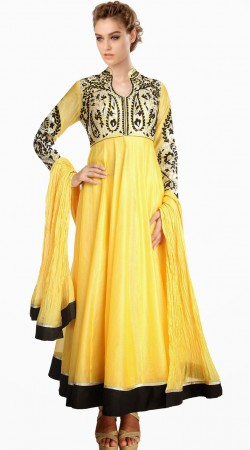 Trendy Resham Work Yellow Silk Exclusive Salwar Kameez SU24211