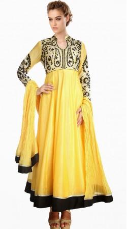 Trendy Resham Work Yellow Silk Exclusive Salwar Kameez SU24211