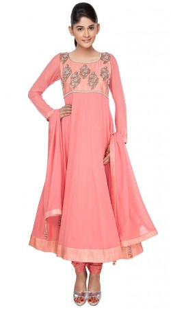 Trendy Salmon Georgette Long Anarkali Suit With Dupatta SUUDS30804