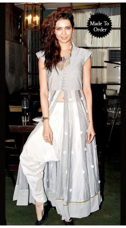 Trendy Silver Karishma Tanna Replica Dhoti Style Salwar Kameez BP0508