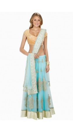 Trendy Sky Blue Net And Shantoon Silk Wedding Lehenga Choli SUUDL8014