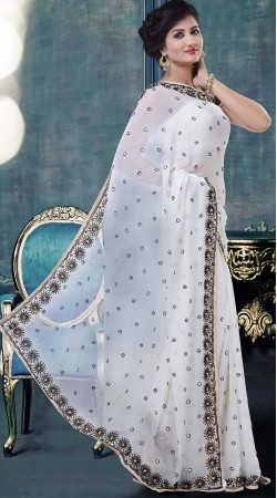Trendy Stone Work White Faux Georgette Exclusive Saree ZP4204
