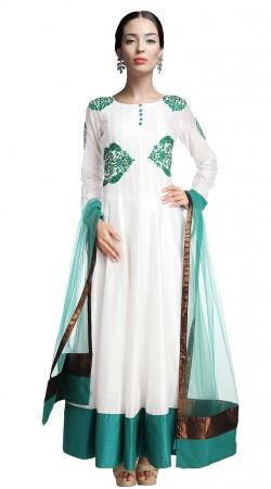 Trendy White Chanderi Silk Ankle Length Anarkali Suit SUUDS17402