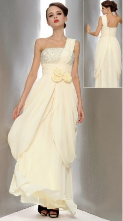 Trendy White Chiffon Yoke Embroidered Designer Prom Dress 3FD4061945