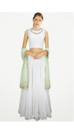Trendy White Georgette And Net Wedding Lehenga Choli SUUDL6114