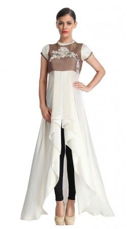Trendy White Georgette Handkerchief Hemline Kameez SUUDS29204