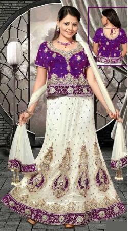Trendy White Net Embroidered Lehenga Choli With Dupatta DT91739