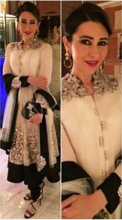 Trendy White Net Karishma Kapoor Designer Replica Long Anarkali Suit BP2004