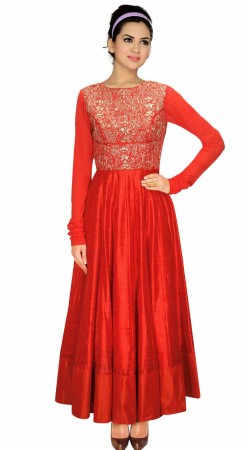 Trendy Yoke Embroidered Red Silk Party Wear Salwar Kameez SUMA1109