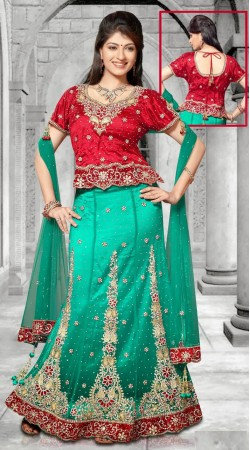 Turquoise And Red Net Embroidered Lehenga Choli With Dupatta DT90139