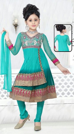Turquoise Georgette Readymade Kids Suit DT503029