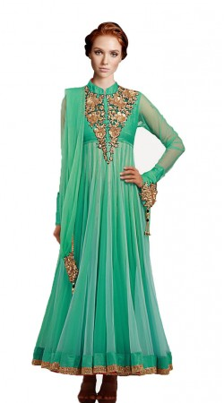 Turquoise Net Ankle Length Anarkali Suit SU9101
