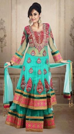 Turquoise Net Embroidered Wedding Long Choli Lehenga DT902534