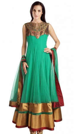 Turquoise Net Golden Border Party Wear Salwar Kameez SU24311