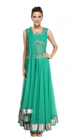 Turquoise Net Silver Border Ankle Length Anarkali Suit SUUDS28404